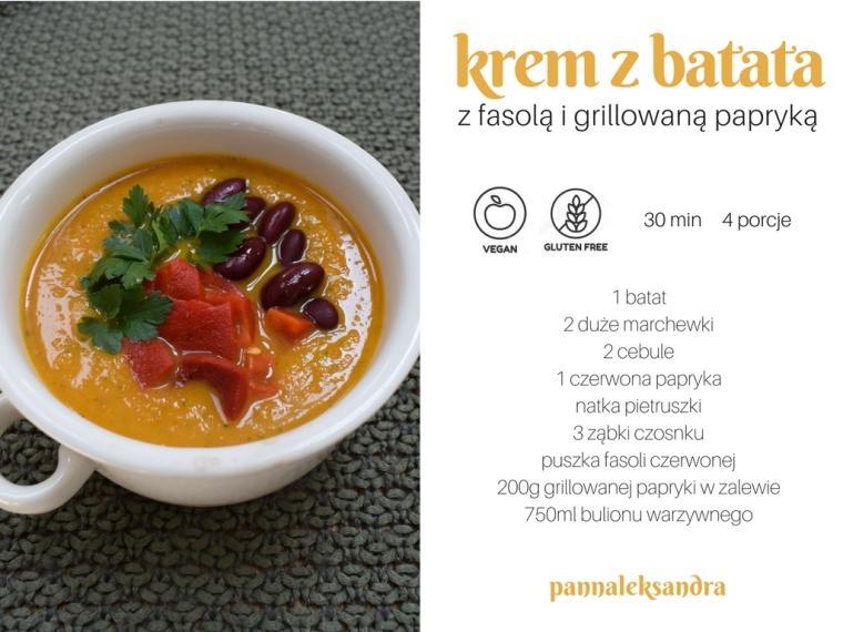 1 batat2 duże marchewki2 cebule1 czerwona paprykanatka pietruszki3 ząbki czosnkupuszka fasoli czerwonej200g grillowanej papryki w zalewie750ml bulionu warzywnego (1)